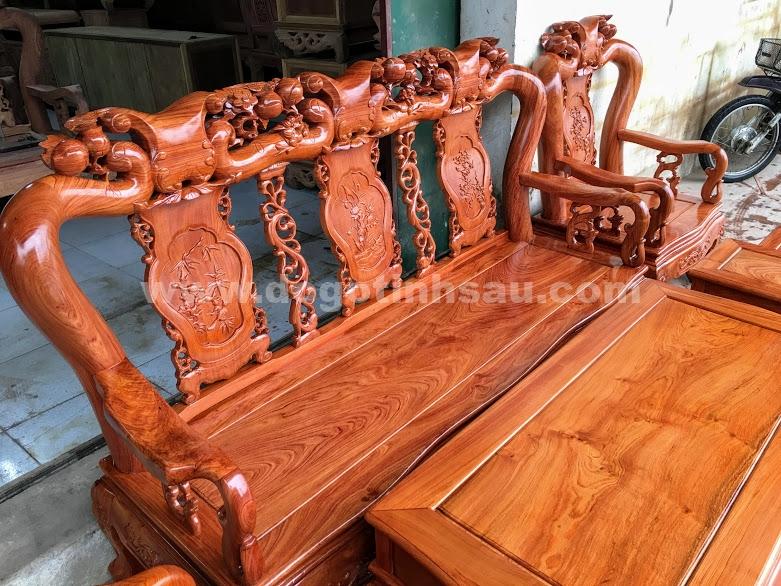 Bo ban ghe go huong da tay 10 1 - Bộ bàn ghế gỗ hương đá tay 10