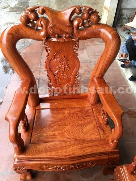 Bo ban ghe go huong da tay 10 2 - Bộ bàn ghế gỗ hương đá tay 10