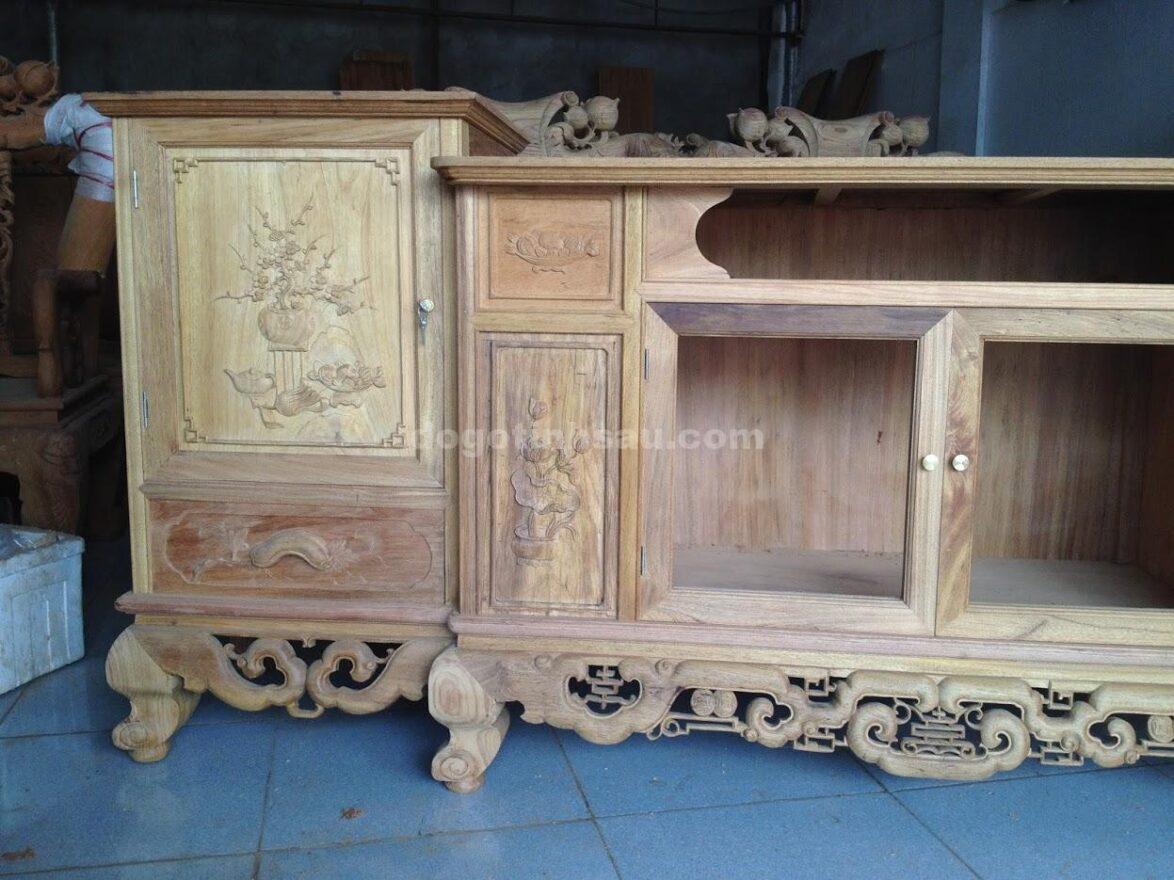 IMG 2438 1174x880 - Kệ tivi gỗ gụ lào 2m4
