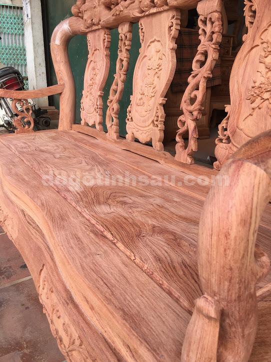IMG 3499 - Bộ bàn ghế phòng khách tay 10 gỗ hương đá vách liền