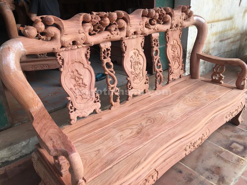 IMG 3500 - Bộ bàn ghế phòng khách tay 10 gỗ hương đá vách liền