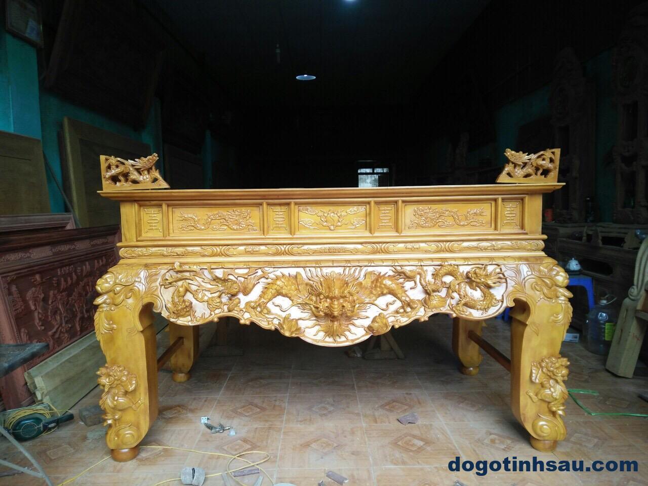 IMG 0329 - Sập thờ Tứ Linh chân 20 gỗ mít màu gỗ tự nhiên