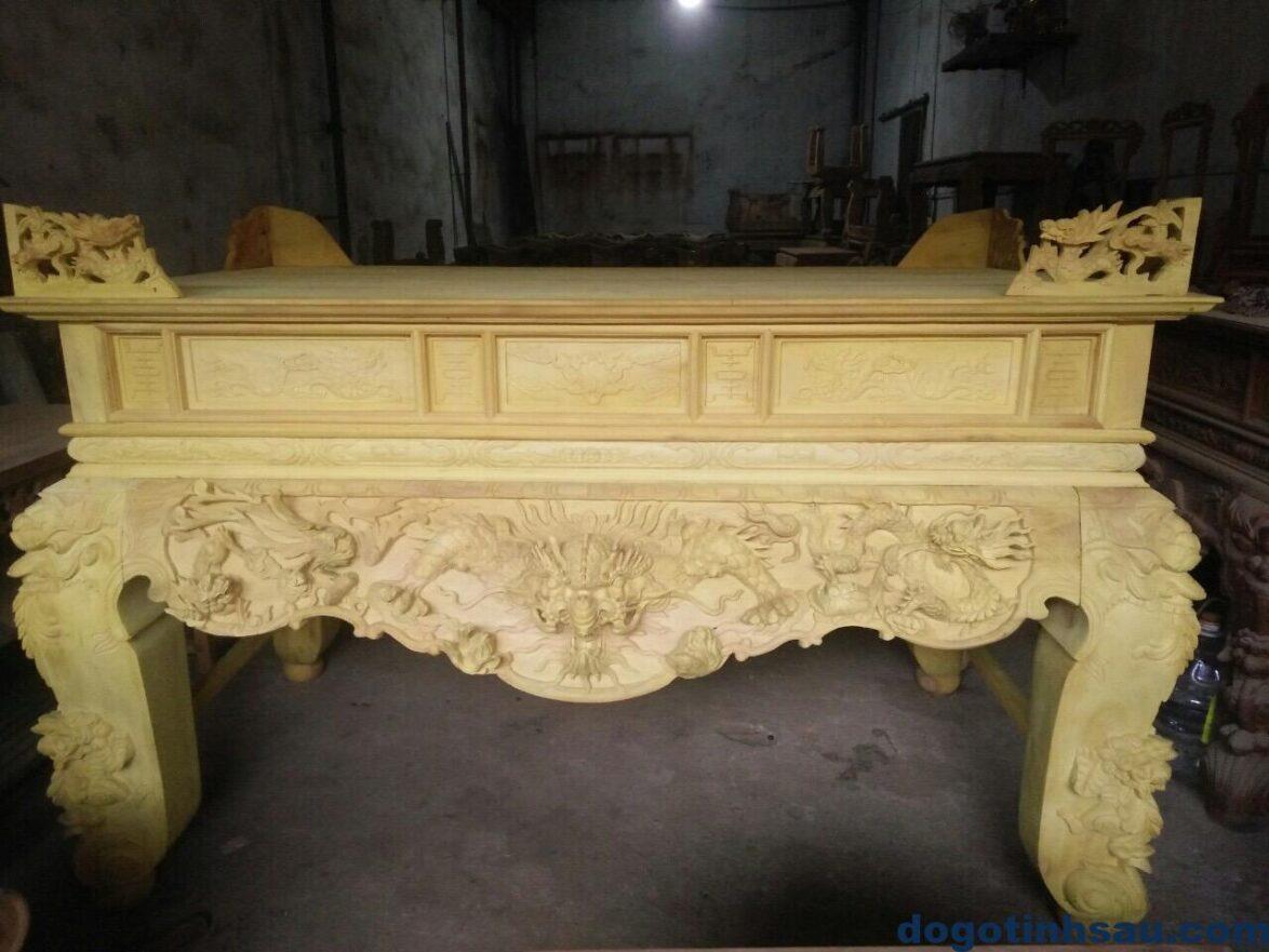 IMG 0330 1174x881 - Sập thờ Tứ Linh chân 20 gỗ mít màu gỗ tự nhiên