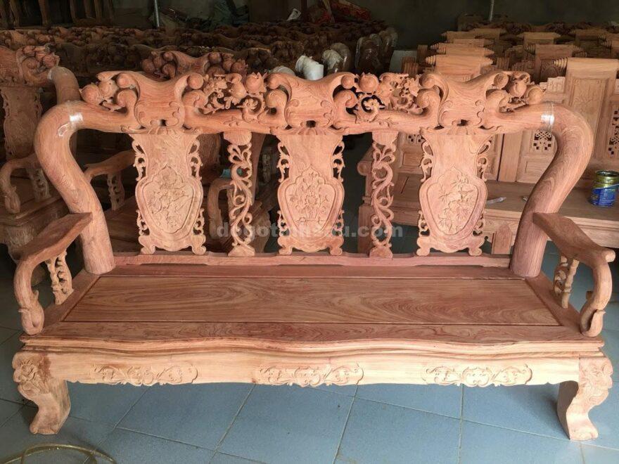 Bộ bàn ghế Minh Quốc đào tay 12 gỗ hương đá vân đẹp