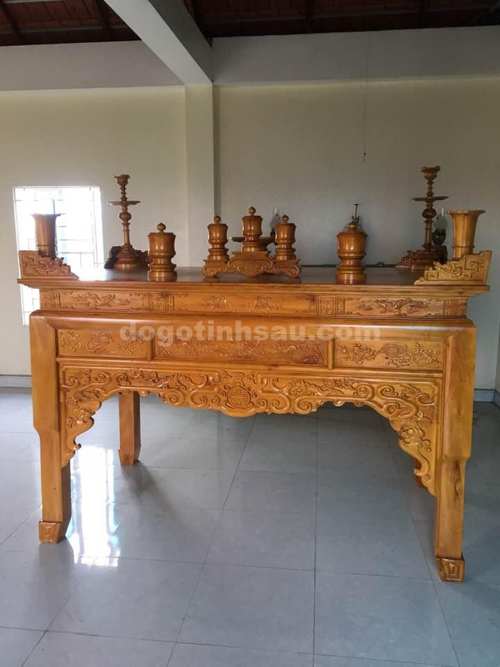 an gian11 - Án gian thờ gỗ mít bệ như ý chân quỳ