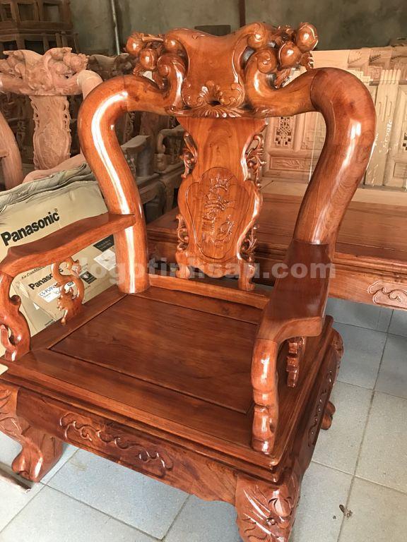 ghe don opt - Bộ bàn ghế mẫu Minh Quốc đào tay 12 gỗ hương đá