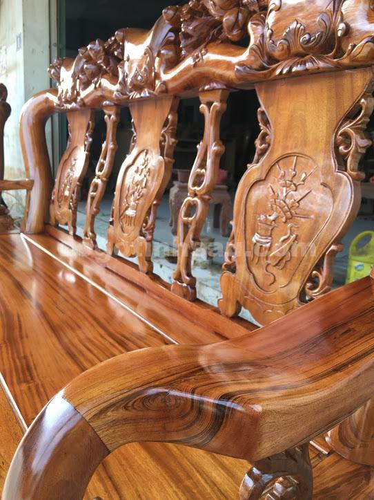 IMG 0649 - Bộ bàn ghế minh quốc tay 12 gỗ gụ ta vách liền