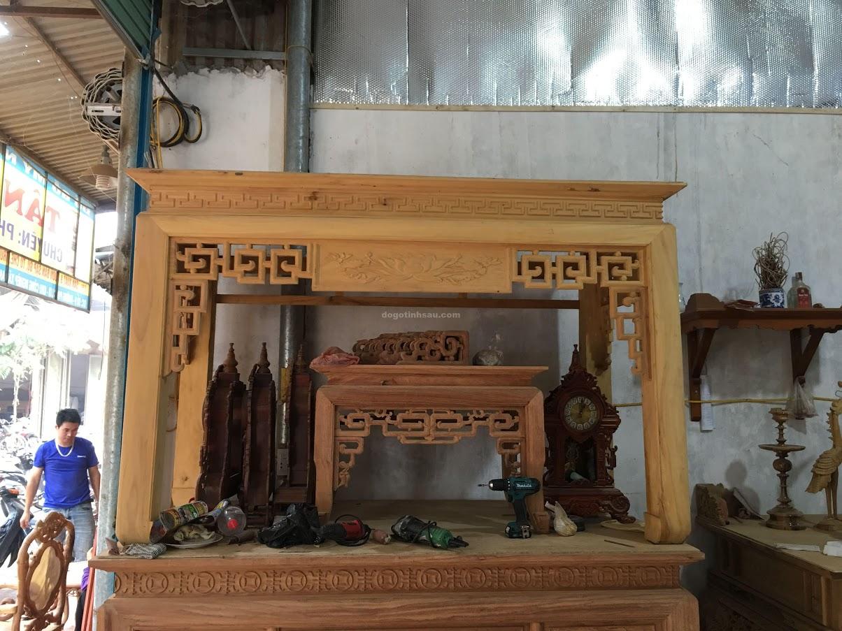 an gian mit - Án gian gỗ mít chân 12 mẫu triện sen