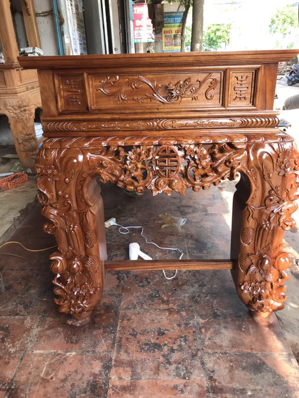 sap tho go gu chan 22 - Sập thờ gỗ gụ chân 24 mẫu Mai Điểu dạ liền đục chạm tinh xảo