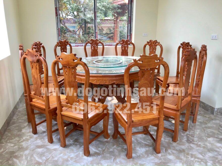bo ban an 12 ghe go go do 1 880x659 - Bộ ghế ăn gỗ gõ đỏ bàn tròn xoay 360 (12 ghế)