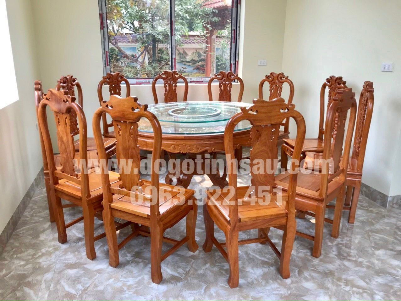 bo ban an 12 ghe go go do 1 - Bộ ghế ăn gỗ gõ đỏ bàn tròn xoay 360 (12 ghế)