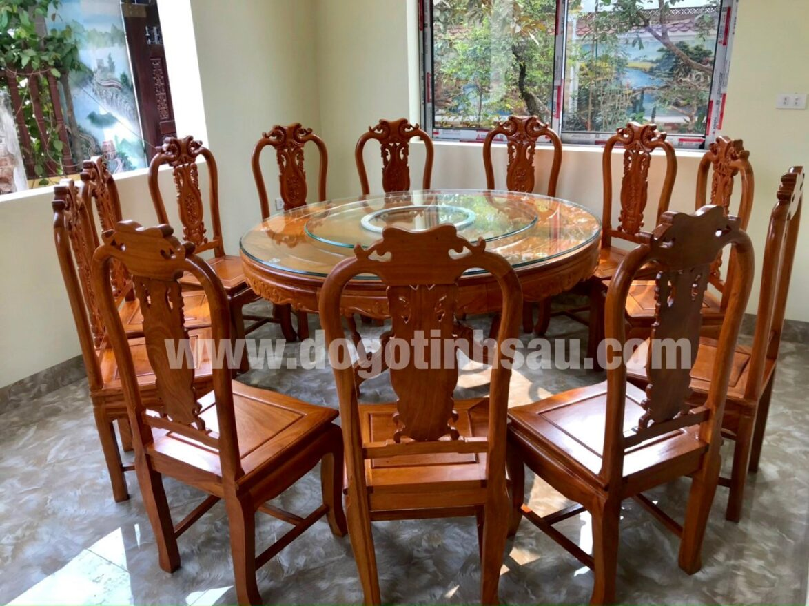 bo ban an 12 ghe go go do 1174x880 - Bộ ghế ăn gỗ gõ đỏ bàn tròn xoay 360 (12 ghế)