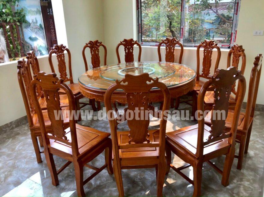 bo ban an 12 ghe go go do 880x659 - Bộ ghế ăn gỗ gõ đỏ bàn tròn xoay 360 (12 ghế)
