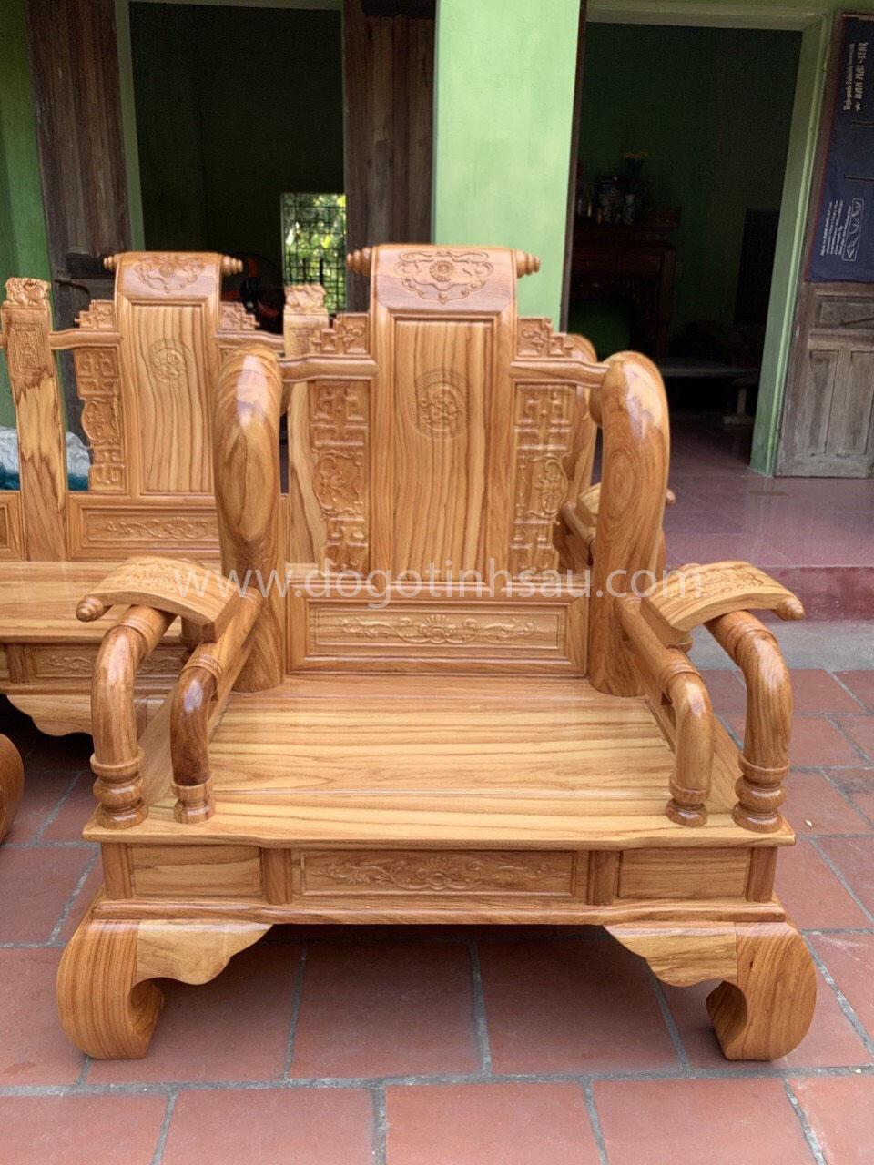 ghe don 2 - Bộ bàn ghế Tần Thủy Hoàng tay 12 gỗ gõ đỏ