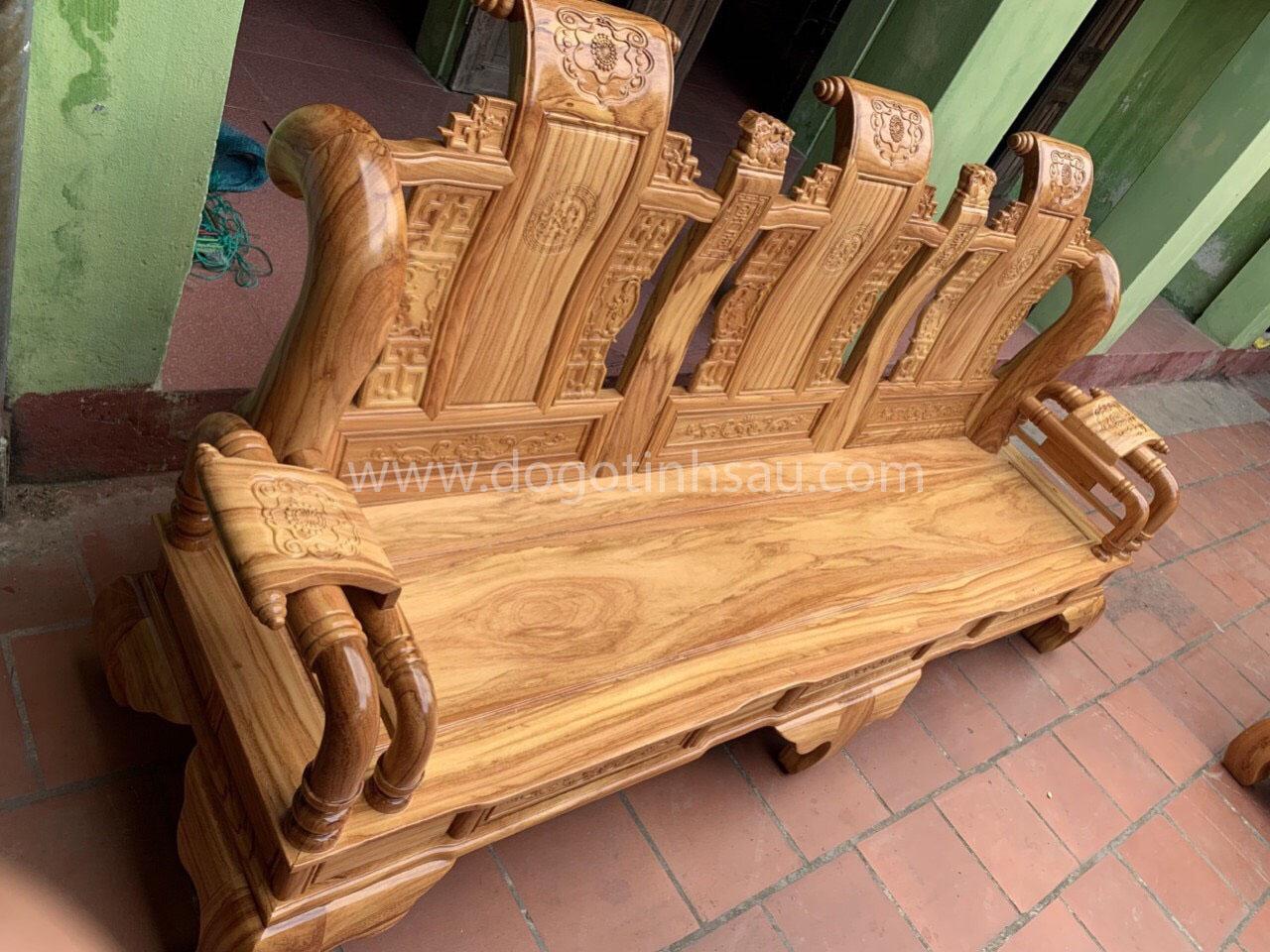 ghe tan thuy hoang - Bộ bàn ghế Tần Thủy Hoàng tay 12 gỗ gõ đỏ