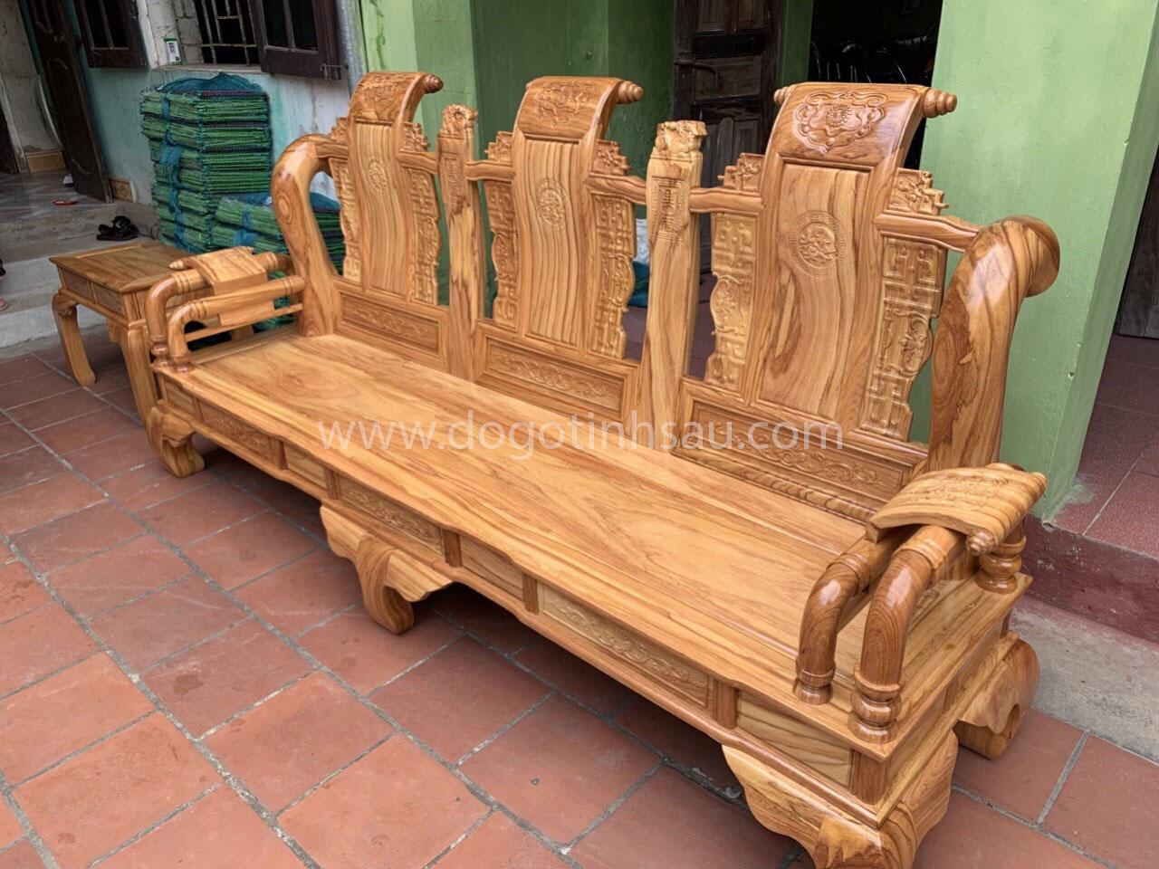 ghe tan - Bộ bàn ghế Tần Thủy Hoàng tay 12 gỗ gõ đỏ