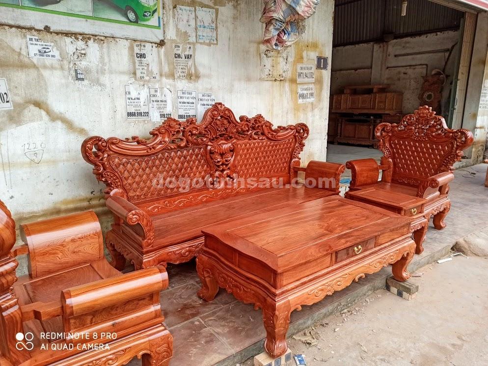 IMG 4431 - Bộ bàn ghế Hoàng Gia gỗ hương đá