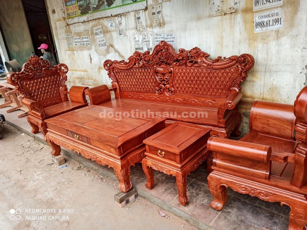 IMG 4432 - Bộ bàn ghế Hoàng Gia gỗ hương đá