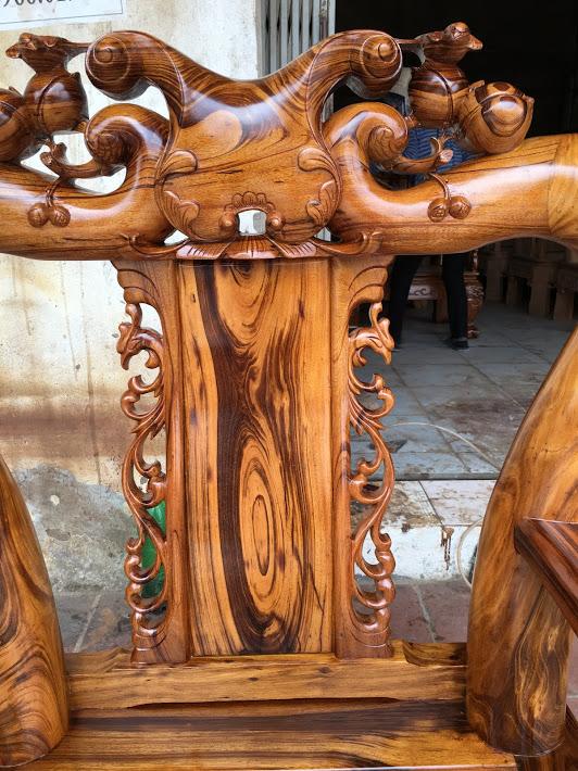 IMG 4715 - Bộ bàn ghế gỗ gụ ta Quảng Bình 6 món tay 12 vân VIP