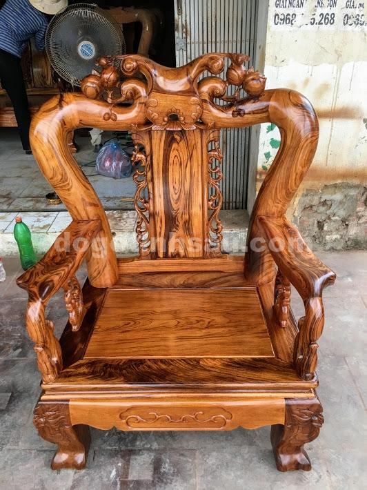 IMG 4720 - Bộ bàn ghế gỗ gụ ta Quảng Bình 6 món tay 12 vân VIP