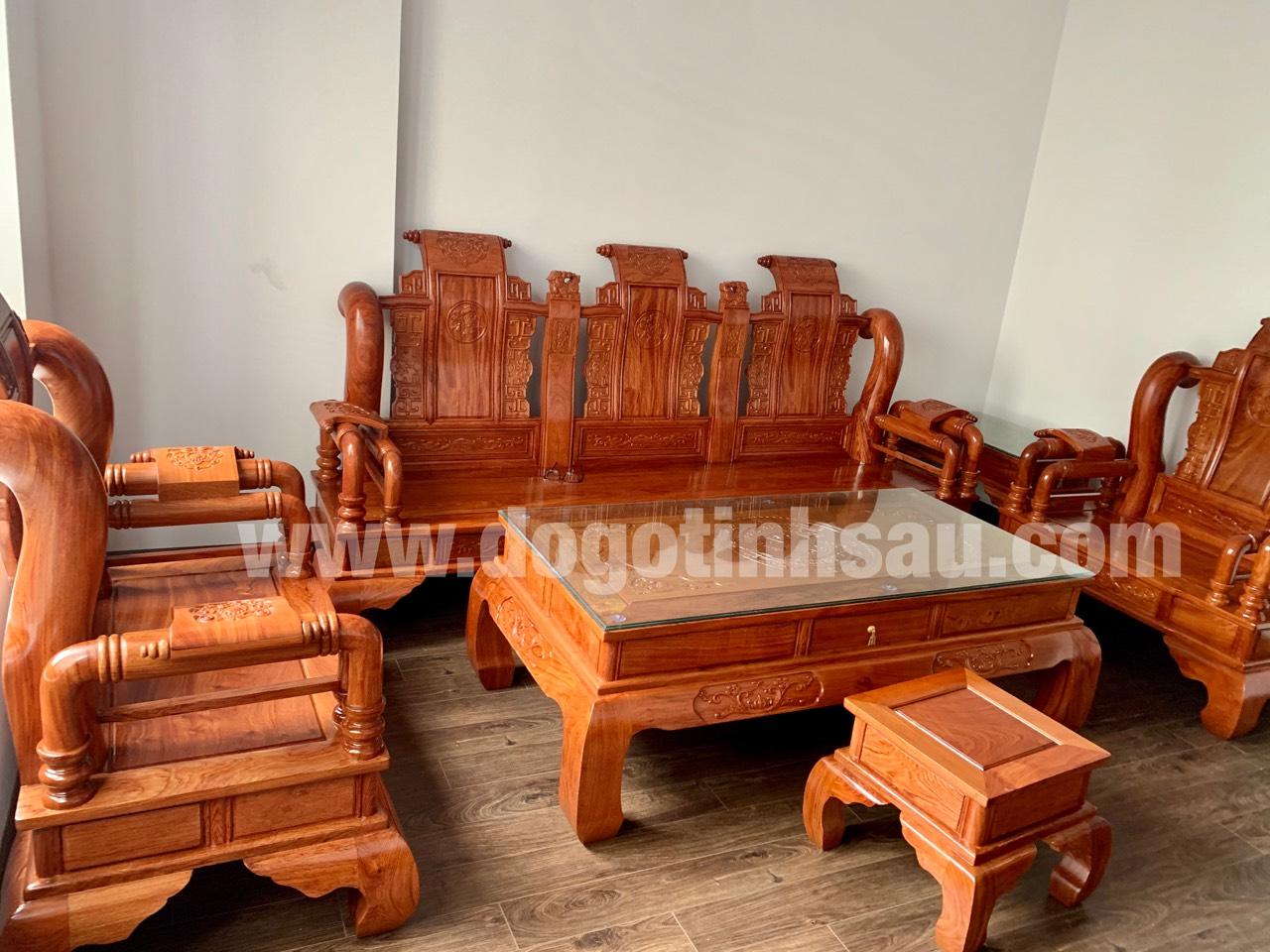 bao gia bo ban ghe tan thuy hoang tay 12 go huong da - Bộ bàn ghế Tần Thủy Hoàng cột 12 gỗ hương đá (cột liền)