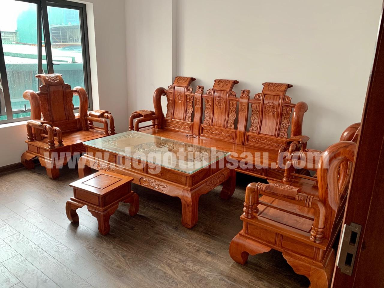 bo ban ghe tan thuy hoang tay 12 go huong da - Bộ bàn ghế Tần Thủy Hoàng cột 12 gỗ hương đá (cột liền)