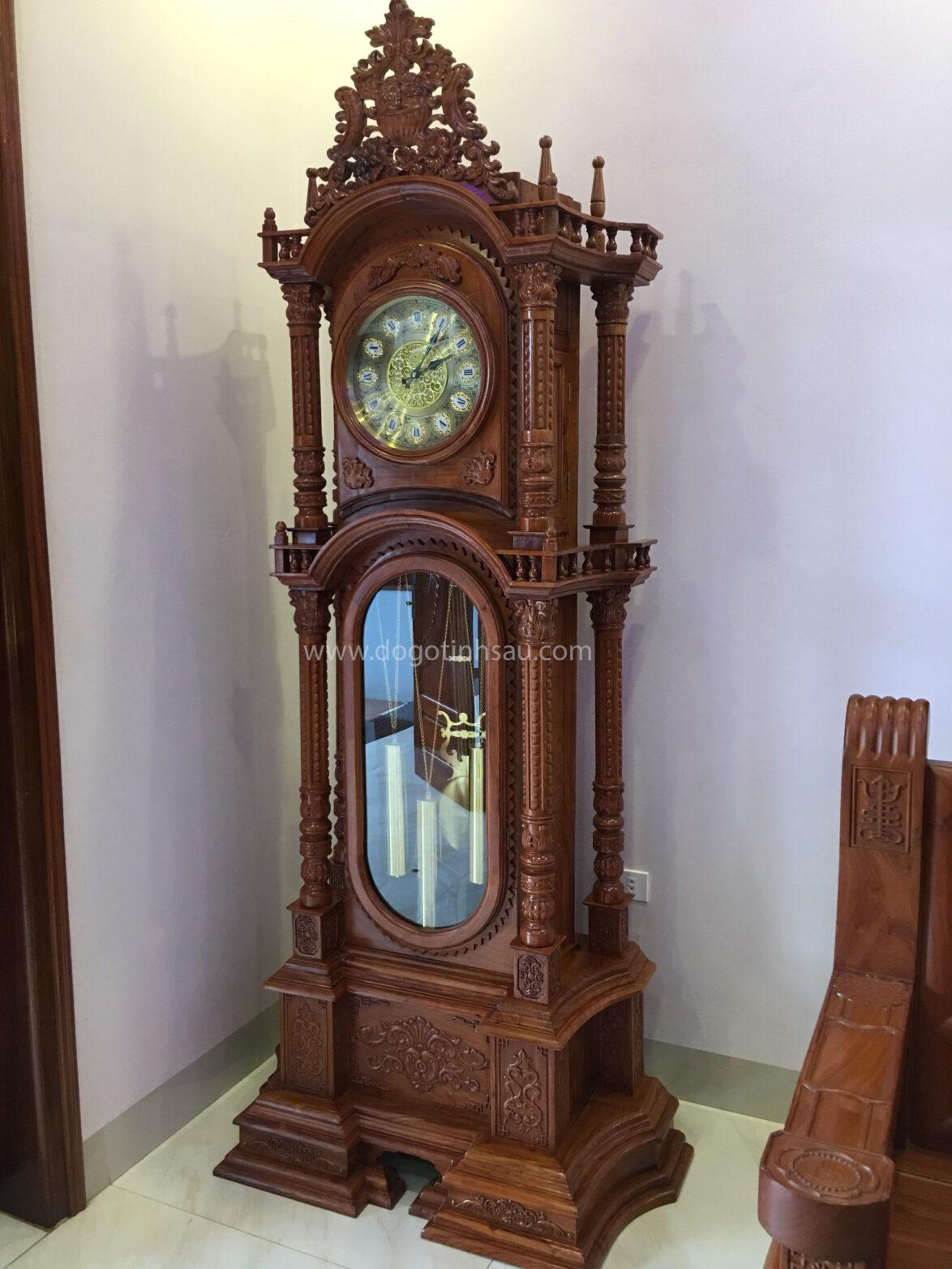 Đồng hồ tháp kiểu vát tứ trụ gỗ hương đá
