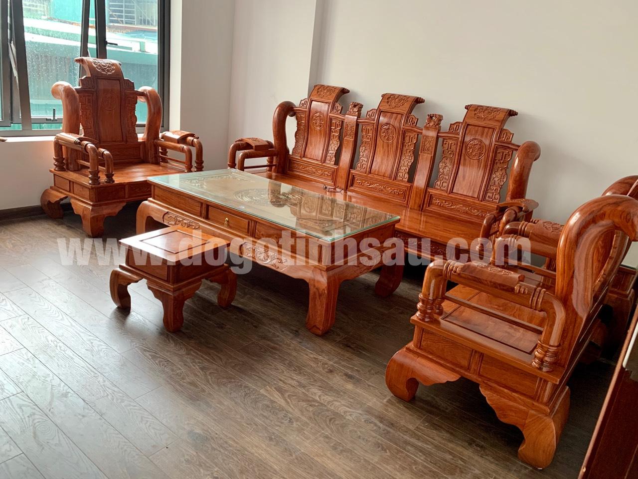gia bo ban ghe tan thuy hoang tay 12 go huong da - Bộ bàn ghế Tần Thủy Hoàng cột 12 gỗ hương đá (cột liền)