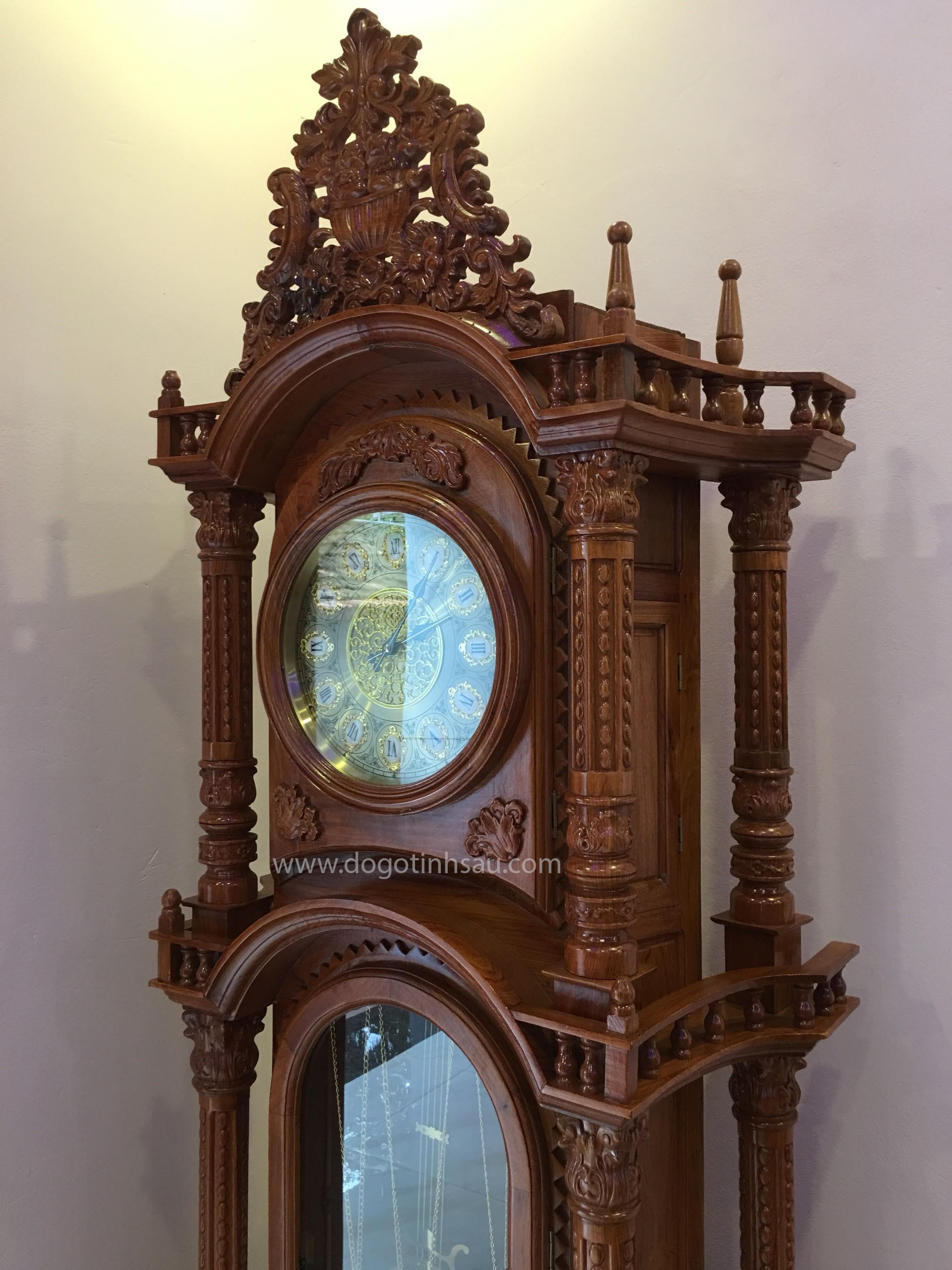 may dien tu - Đồng hồ cây gỗ hương đá kiểu dáng tháp tứ trụ vát