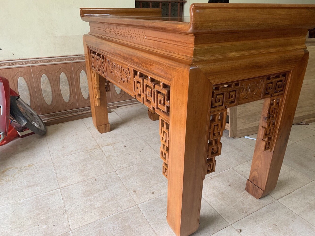 An gian tho go gu Lao chan 16 hang dat - Án gian thờ gỗ gụ Lào chân 16 (hàng đặt)