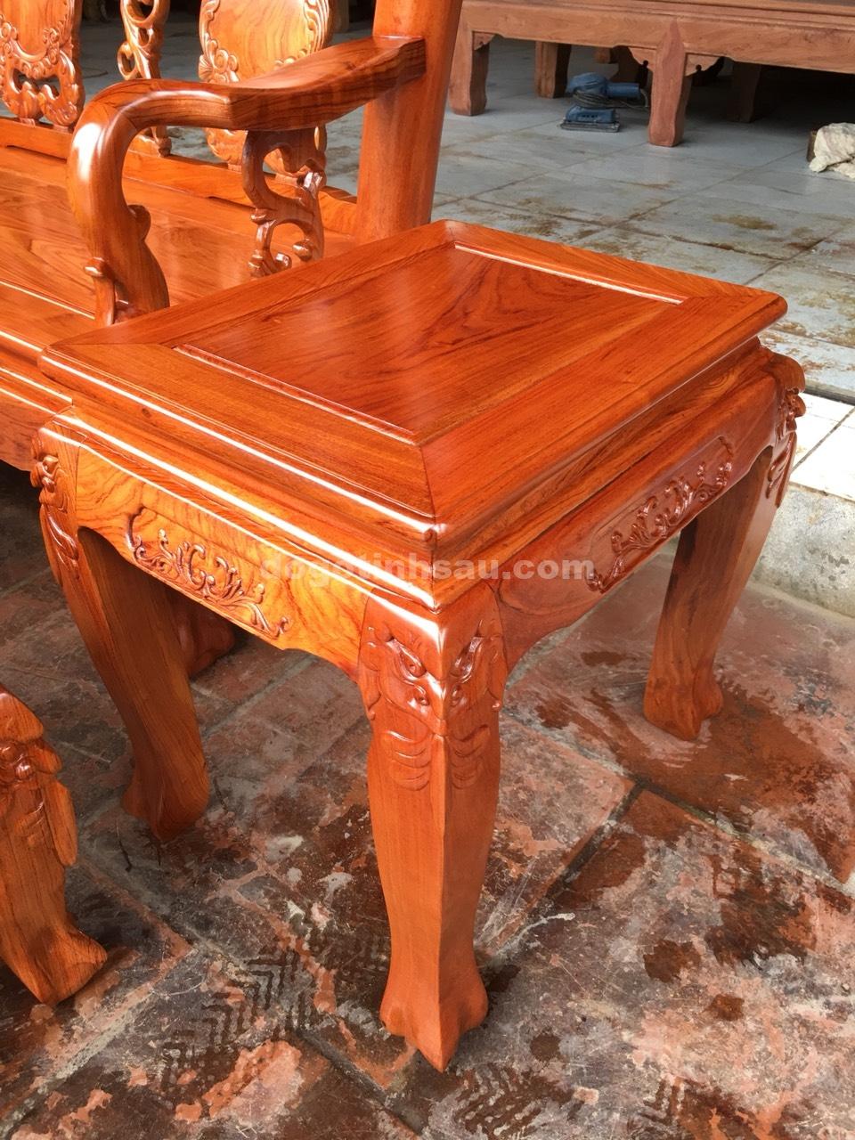 bo ban ghe minh quoc dao go huong da tay 10 vach tron 9 - Bộ bàn ghế Minh Quốc đào gỗ hương đá tay 10 vách trơn