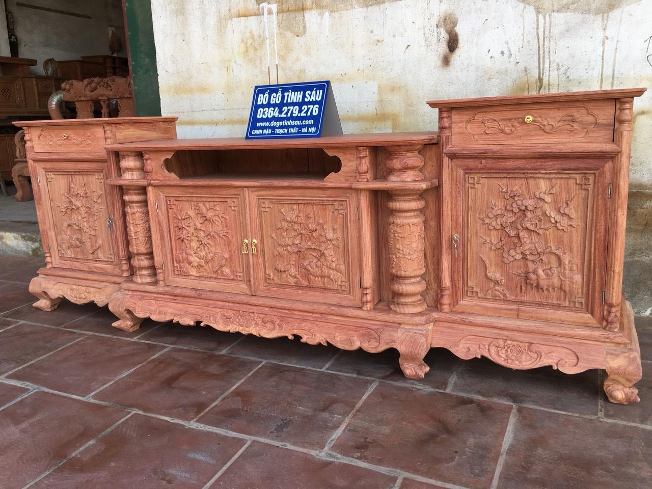 ke huong da canh 1.5 - Kệ tivi cột nho gỗ hương đá cánh thẳng (cánh dày 1.5 phân)