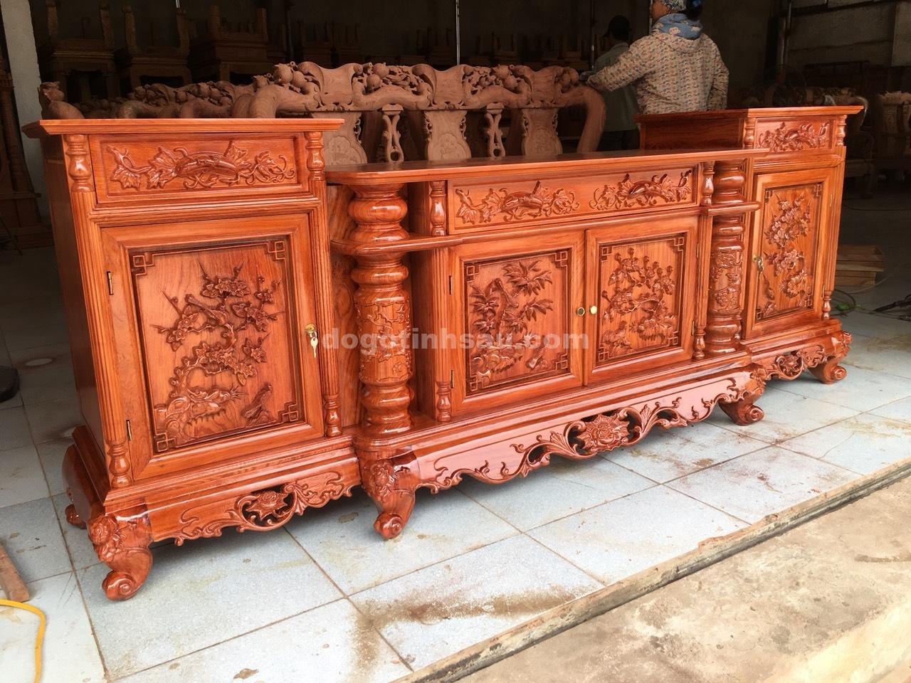 ke tivi cot nho go huong da dai 2m2 2 - Kệ tivi cột nho gỗ hương đá dài 2m2 (cánh dày 2.5 phân)