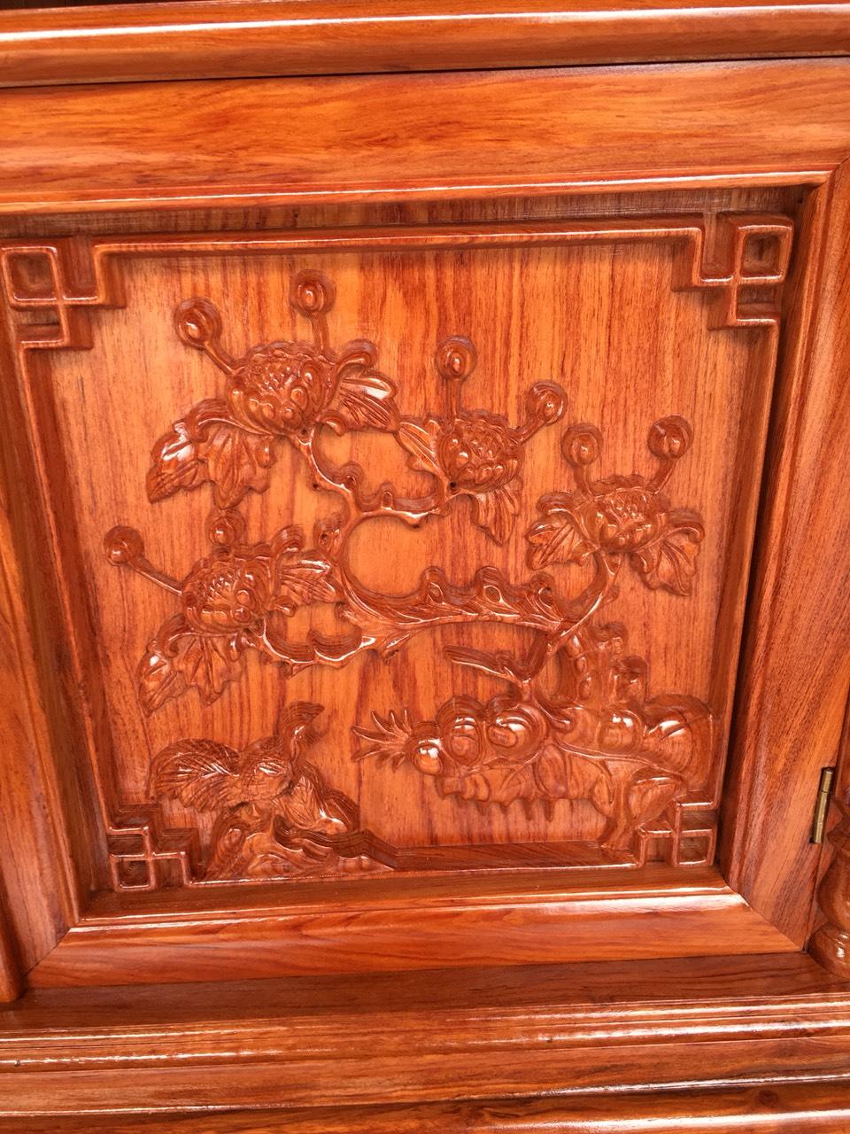 ke tivi go huong canh 25 1 - Kệ tivi cột nho gỗ hương đá dài 2m2 (cánh dày 2.5 phân)