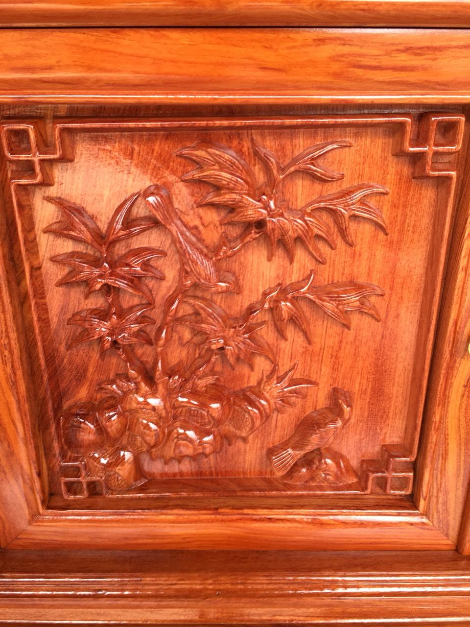 ke tivi go huong canh 25 - Kệ tivi cột nho gỗ hương đá dài 2m2 (cánh dày 2.5 phân)