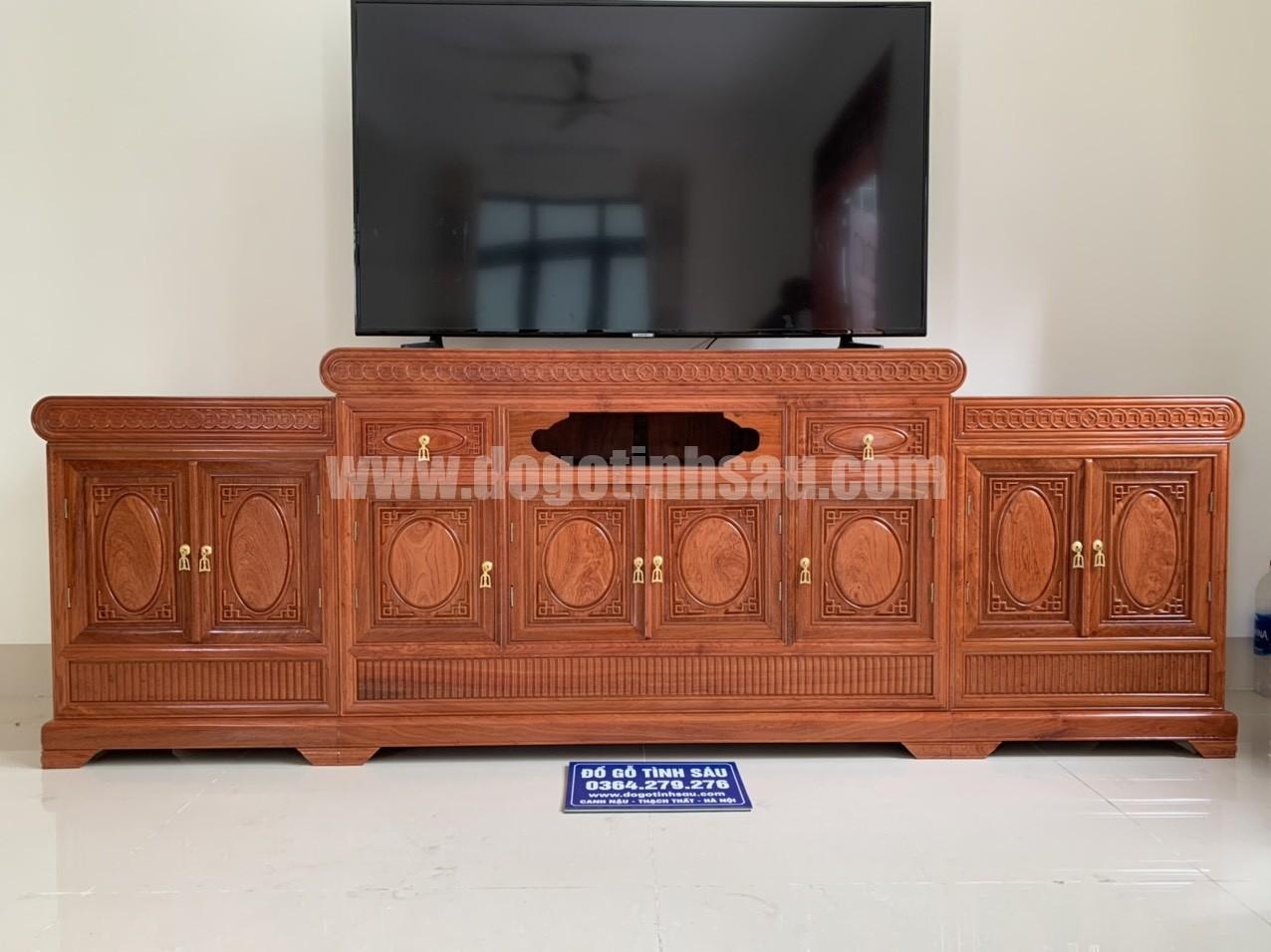 ke tivi mo loi go huong da dai 2m4x45x81 - Kệ tivi mõ lồi gỗ hương đá dài 2m4 (cánh trơn dày 1.5)