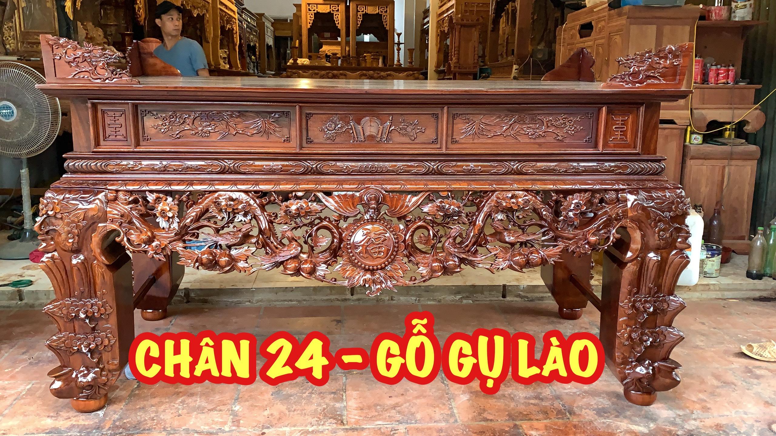 chan 24 sap tho mai dieu - Bộ sập thờ Mai Điểu nhị cấp chân 24 và bàn cơm gỗ gụ (đục tay 100%)