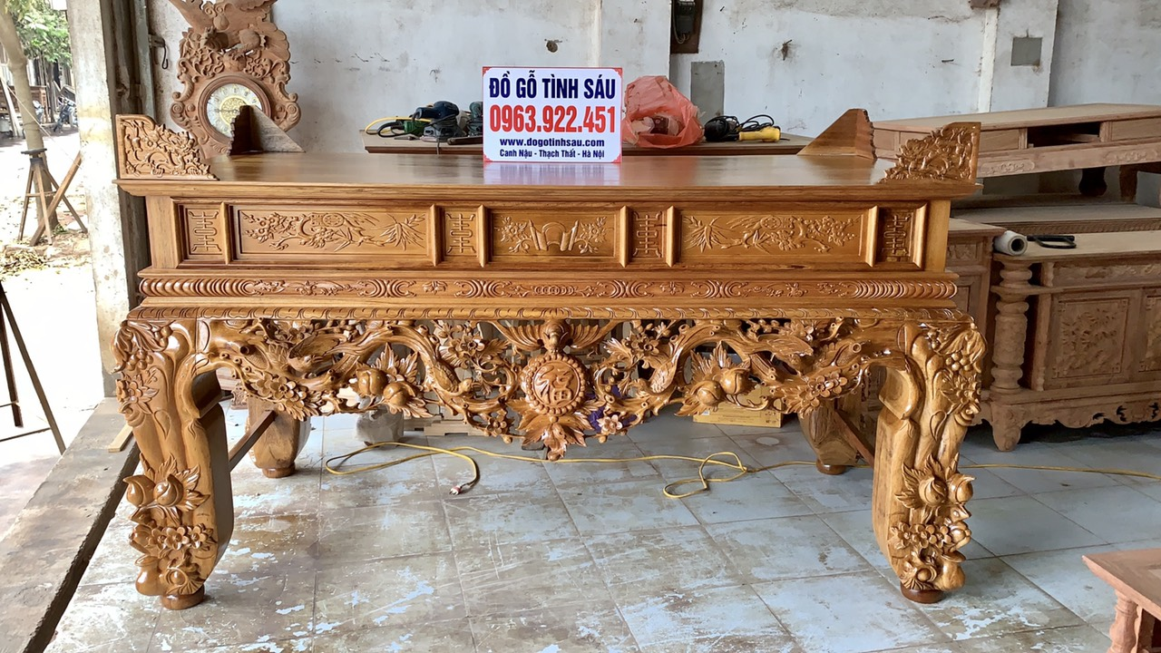 sap tho mai dieu go gu chan 22 - Bàn thờ gỗ gụ đẹp chuẩn giá tốt tại Hà Nội