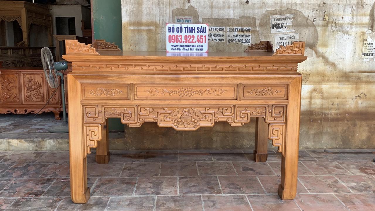 an giangu - Án gian thờ gỗ gụ chân 12 mẫu triện dơi
