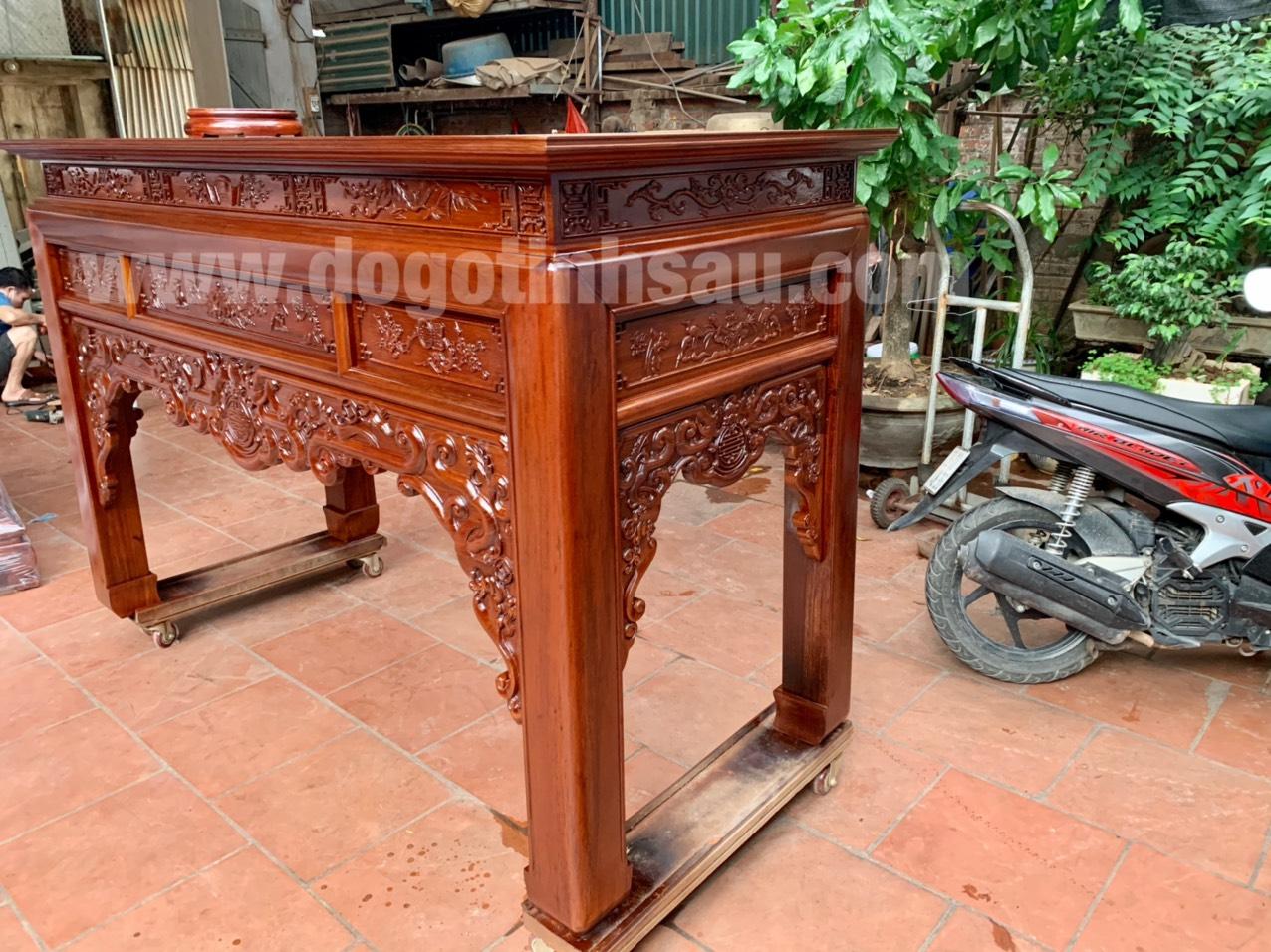 ban tho bang go gu nhu y - Bàn thờ án gian mẫu như ý gỗ gụ lào 1m97
