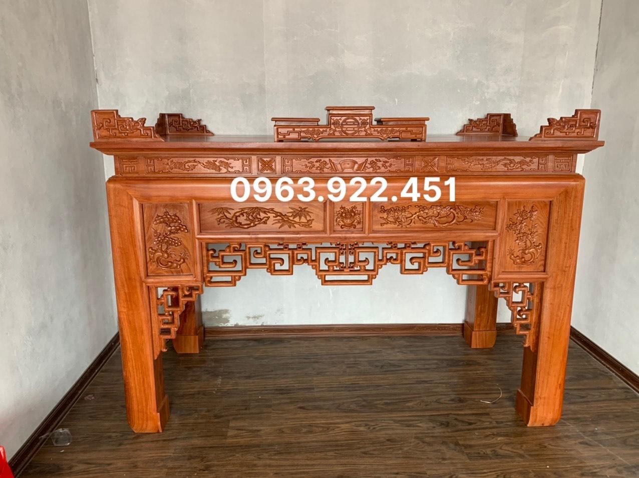 bo an gian tho - Án gian thờ gỗ hương đá chân 14 mẫu đục 5 ô (hàng đặt)