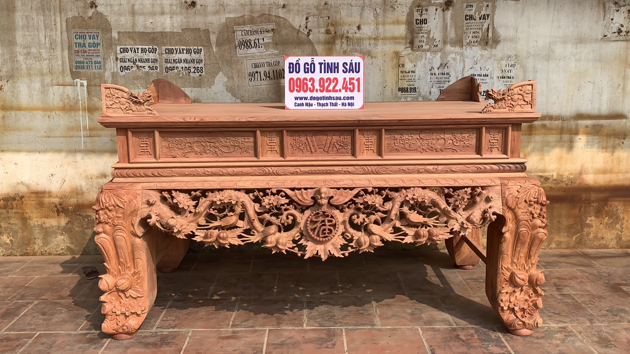 sap tho mai dieu go huong da - Sập thờ Mai Điểu chân 24 gỗ hương đá (hàng đặt dày dặn)