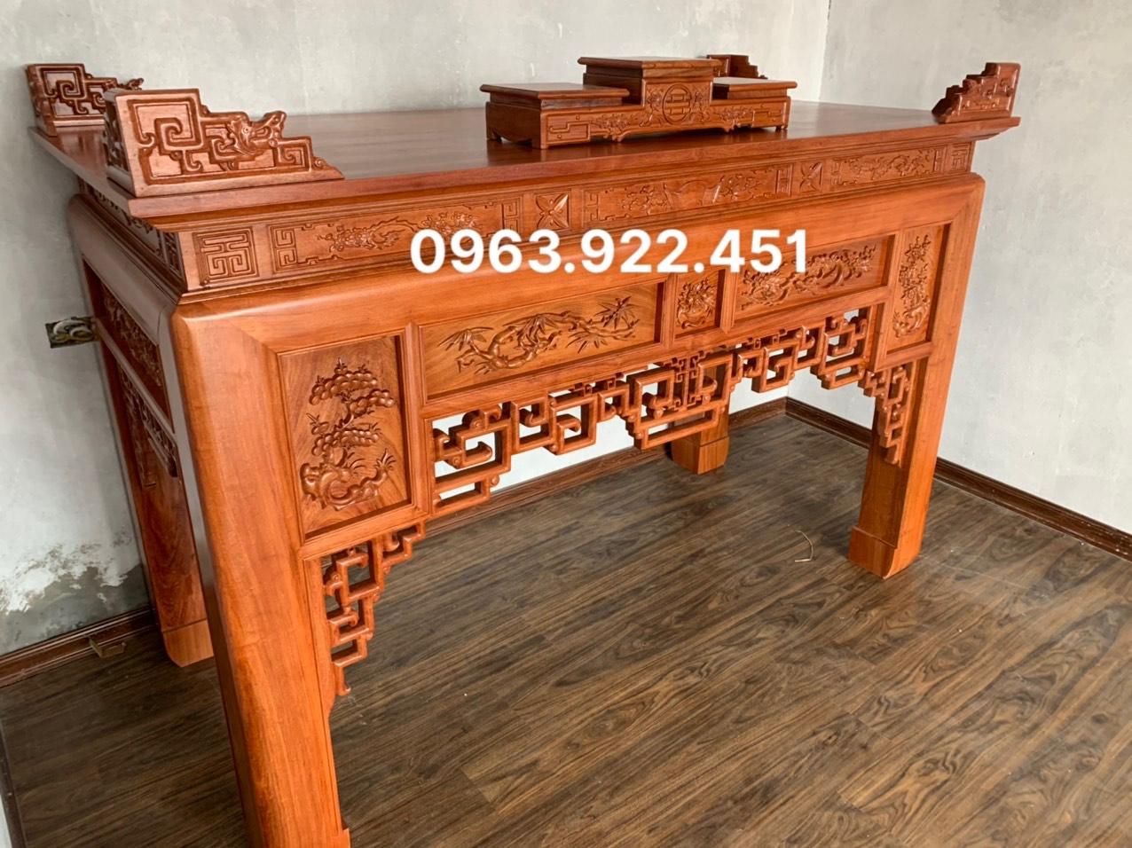 z2525098591891 8de4c77e1e91737a8a753acc1243258f - Án gian thờ gỗ hương đá chân 14 mẫu đục 5 ô (hàng đặt)