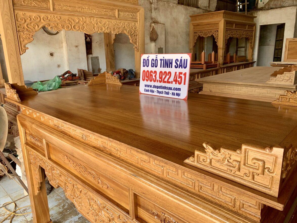 ban tho go gu 1m97 1174x881 - Bàn thờ gỗ gụ lào dài 1m97 mẫu triện dơi (Anh Hưng - Yên Nghĩa)
