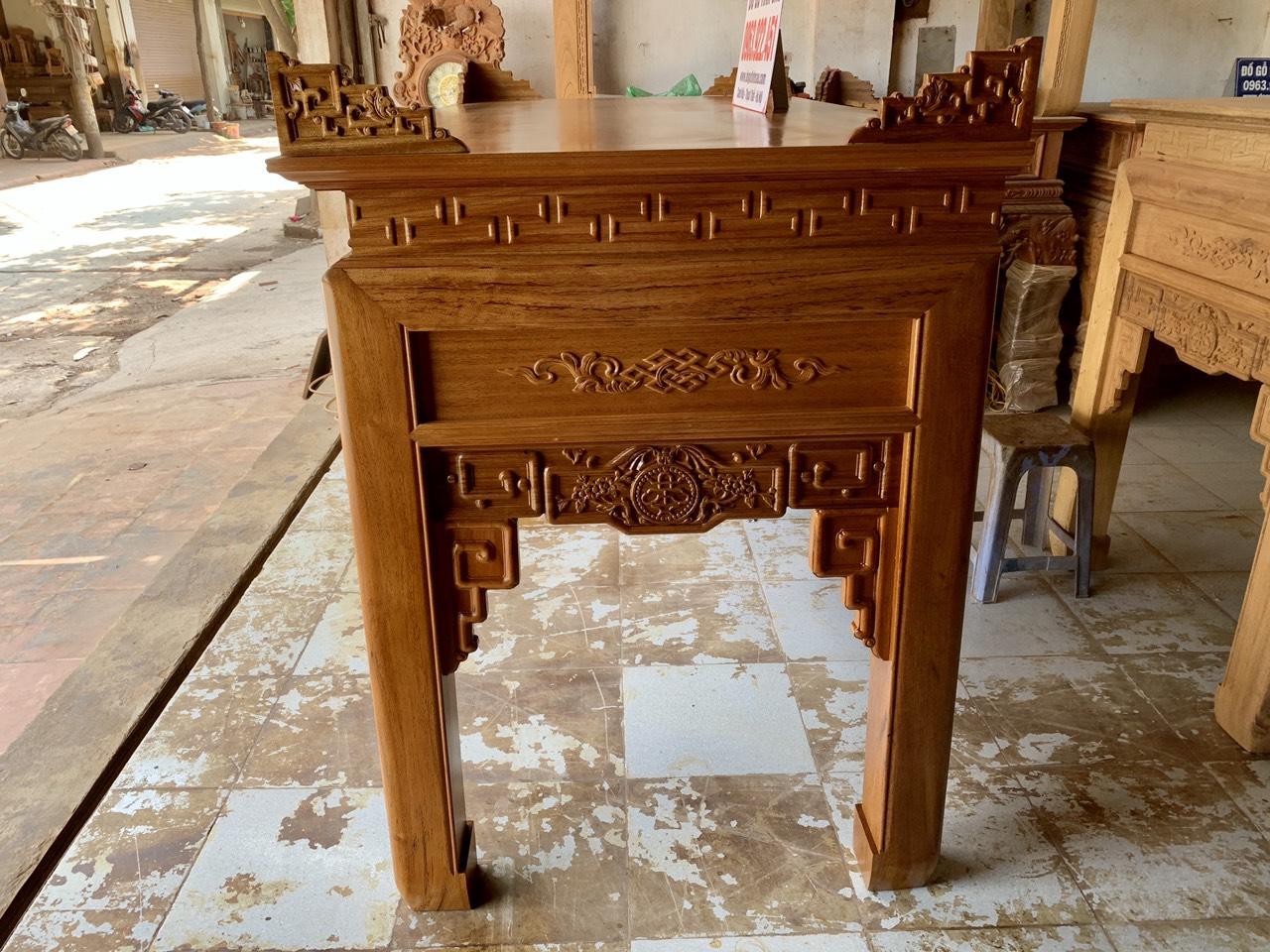 ban tho go gu lao - Bàn thờ gỗ gụ lào dài 1m97 mẫu triện dơi (Anh Hưng - Yên Nghĩa)