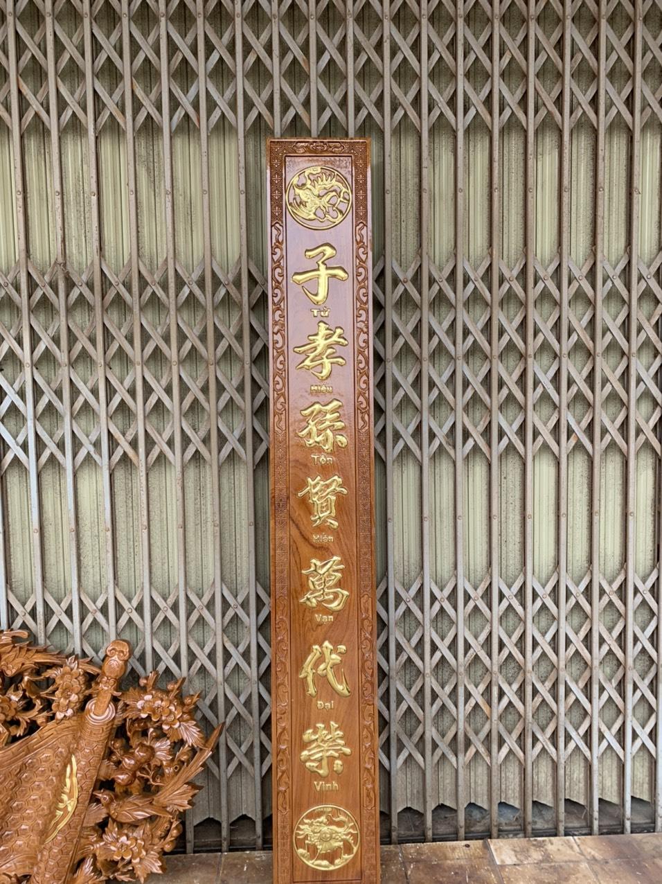 cau doi go go - Bộ Cuốn Thư Câu Đối Gỗ Gõ Đỏ Dày 4cm (Dát Vàng Đài Loan)