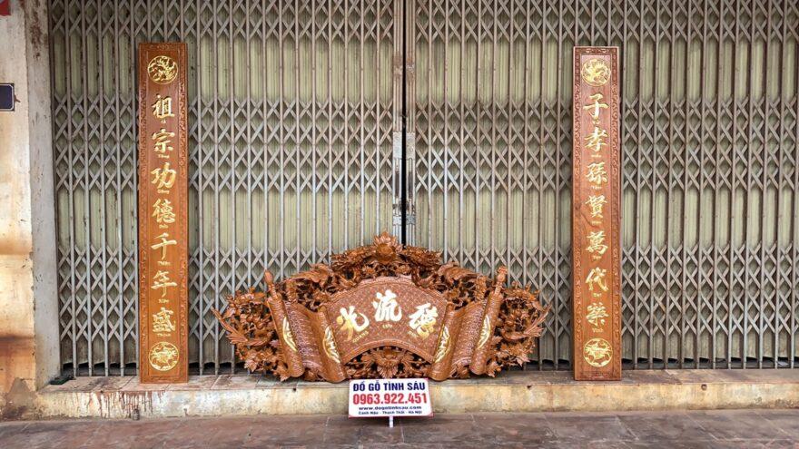 cuon thu cau doi go go 880x495 - Bộ Cuốn Thư Câu Đối Gỗ Gõ Đỏ Dày 4cm (Dát Vàng Đài Loan)