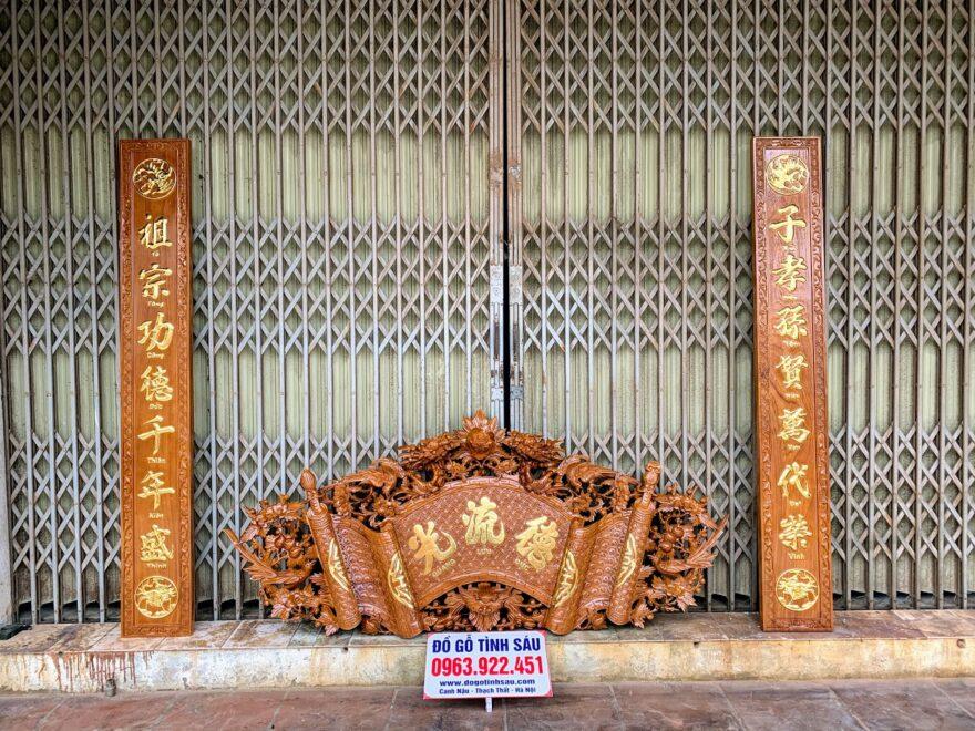 cuon thu cau doi go go do 880x660 - Bộ Cuốn Thư Câu Đối Gỗ Gõ Đỏ Dày 4cm (Dát Vàng Đài Loan)