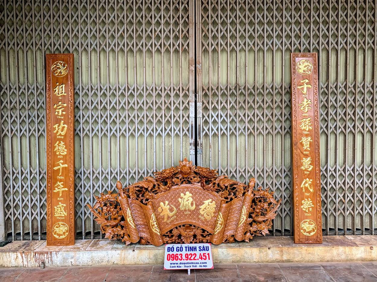 cuon thu cau doi go go do - Bộ Cuốn Thư Câu Đối Gỗ Gõ Đỏ Dày 4cm (Dát Vàng Đài Loan)
