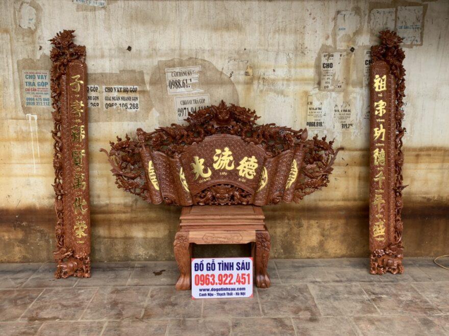 cuon thu cau doi go huong 880x659 - Bộ cuốn thư câu đối gỗ hương đá mẫu mai hóa long 1m97
